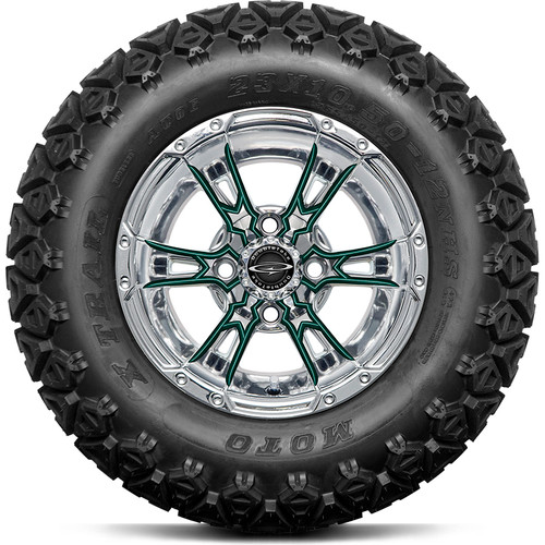 """Doubletake 12"""" Wicked 57 Series All Terrain Chrome with Green Set of 4"""