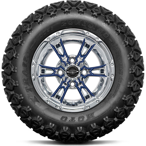 "Doubletake 12"" Wicked 57 Series All Terrain Chrome with Navy Set of 4"