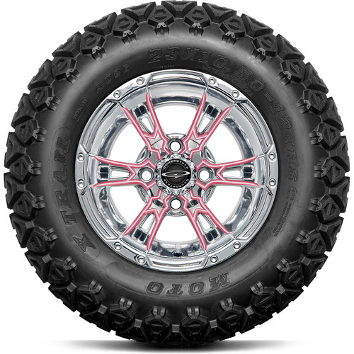 "Doubletake 12"" Wicked 57 Series All Terrain Chrome with Pink Set of 4"