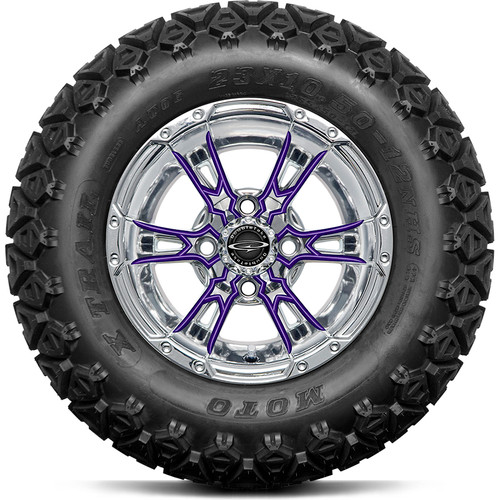 "Doubletake 12"" Wicked 57 Series All Terrain Chrome with Purple Set of 4"