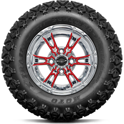 """Doubletake 12"""" Wicked 57 Series All Terrain Chrome with Red Set of 4"""