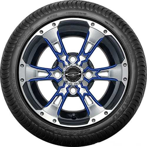 """Doubletake 12"""" Wicked 57 Series Street Machined Black with Blue Set of 4"""