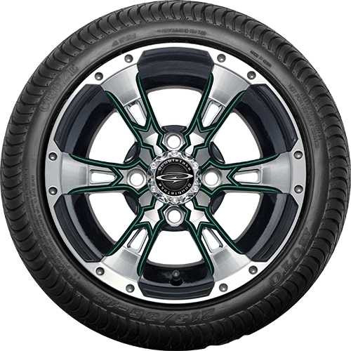 """Doubletake 12"""" Wicked 57 Series Street Machined Black with Green Set of 4"""