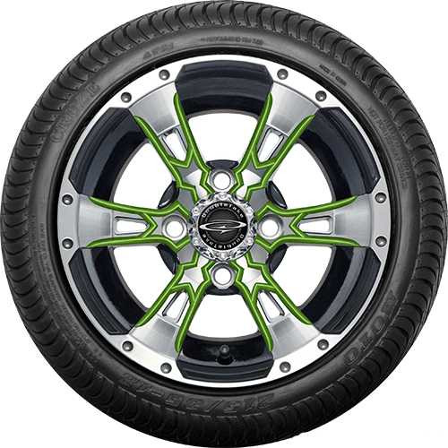 """Doubletake 12"""" Wicked 57 Series Street Machined Black with Lime Set of 4"""