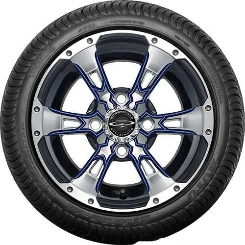 """Doubletake 12"""" Wicked 57 Series Street Machined Black with Navy Set of 4"""