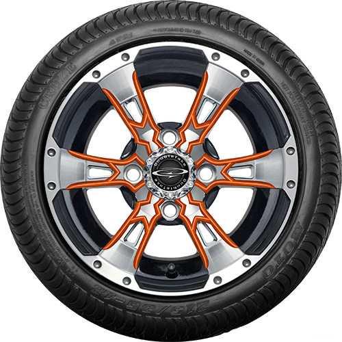 "Doubletake 12"" Wicked 57 Series Street Machined Black with Orange Set of 4"