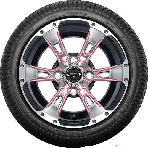 """Doubletake 12"""" Wicked 57 Series Street Machined Black with Pink Set of 4"""