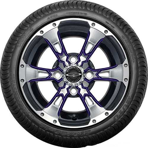 """Doubletake 12"""" Wicked 57 Series Street Machined Black with Purple Set of 4"""