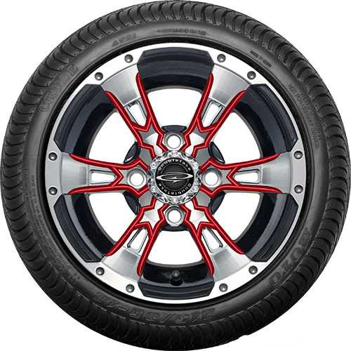"""Doubletake 12"""" Wicked 57 Series Street Machined Black with Red Set of 4"""