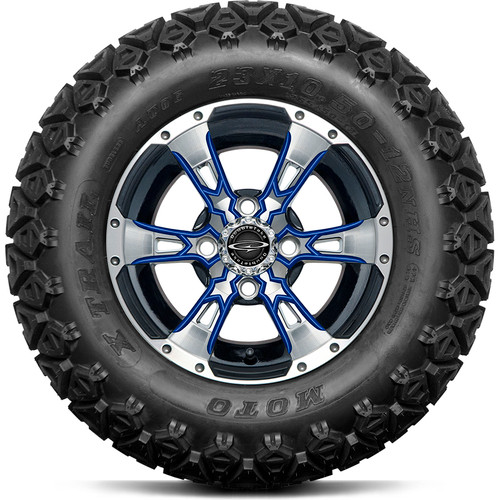 "Doubletake 12"" Wicked 57 Series All Terrain Machined Black Finish with Blue Set of 4"