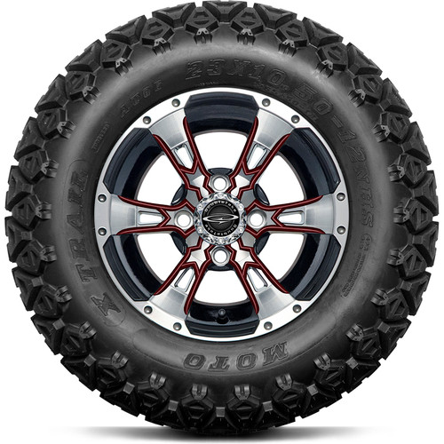 "Doubletake 12"" Wicked 57 Series All Terrain Machined Black Finish with Burgundy Set of 4"