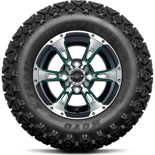"Doubletake 12"" Wicked 57 Series All Terrain Machined Black Finish with Green Set of 4"