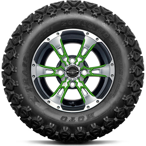 "Doubletake 12"" Wicked 57 Series All Terrain Machined Black Finish with Lime Set of 4"