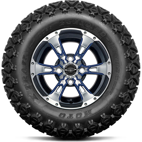 "Doubletake 12"" Wicked 57 Series All Terrain Machined Black Finish with Navy Set of 4"