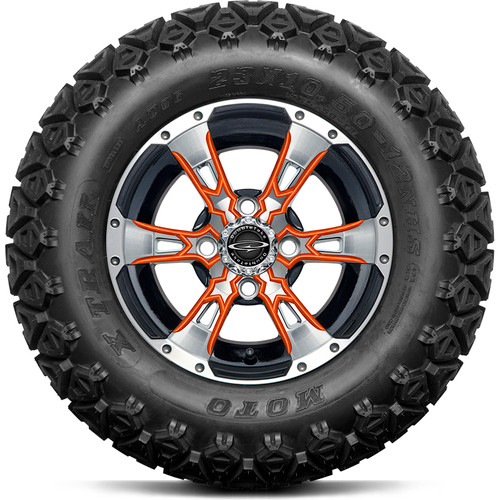 "Doubletake 12"" Wicked 57 Series All Terrain Machined Black Finish with Orange Set of 4"