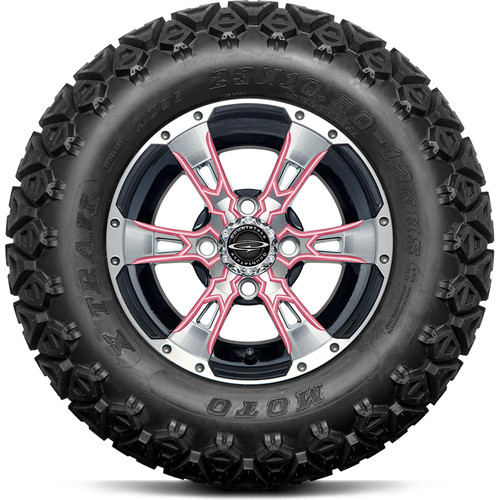 "Doubletake 12"" Wicked 57 Series All Terrain Machined Black Finish with Pink Set of 4"