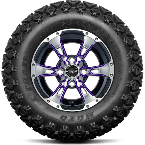 "Doubletake 12"" Wicked 57 Series All Terrain Machined Black Finish with Purple Set of 4"