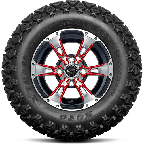 "Doubletake 12"" Wicked 57 Series All Terrain Machined Black Finish with Red Set of 4"