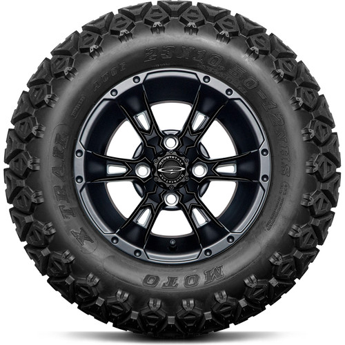 """Doubletake 12"""" Wicked 57 Series All Terrain Satin Black Finish with Black Set of 4"""