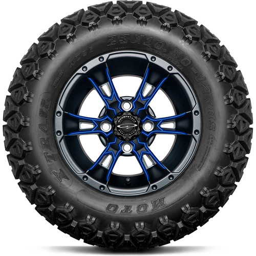 """Doubletake 12"""" Wicked 57 Series All Terrain Satin Black Finish with Blue Set of 4"""