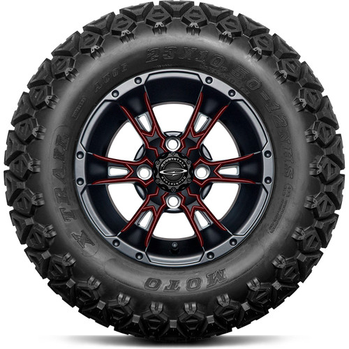 """Doubletake 12"""" Wicked 57 Series All Terrain Satin Black Finish with Burgundy Set of 4"""