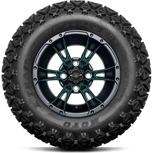 """Doubletake 12"""" Wicked 57 Series All Terrain Satin Black Finish with Green Set of 4"""