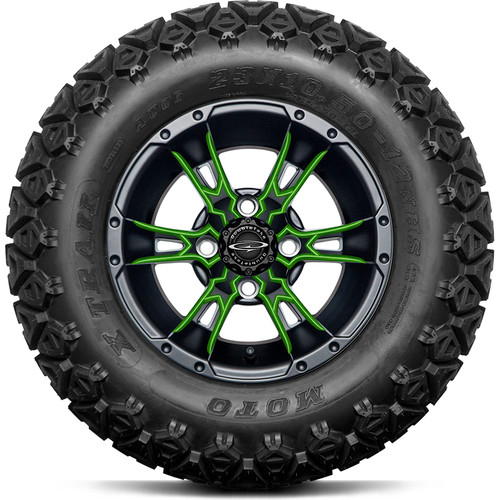 """Doubletake 12"""" Wicked 57 Series All Terrain Satin Black Finish with Lime Set of 4"""
