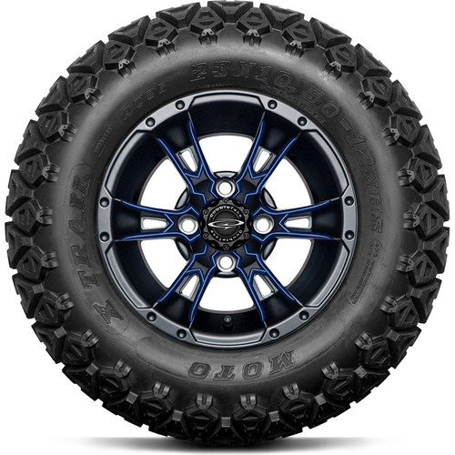 """Doubletake 12"""" Wicked 57 Series All Terrain Satin Black Finish with Navy Set of 4"""