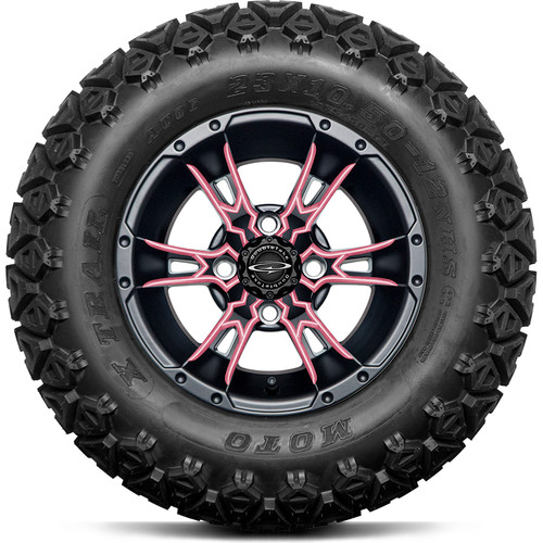"""Doubletake 12"""" Wicked 57 Series All Terrain Satin Black Finish with Pink Set of 4"""
