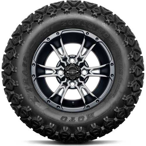 """Doubletake 12"""" Wicked 57 Series All Terrain Satin Black Finish with Pearl Set of 4"""