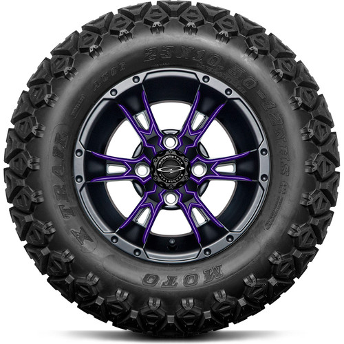 """Doubletake 12"""" Wicked 57 Series All Terrain Satin Black Finish with Purple Set of 4"""