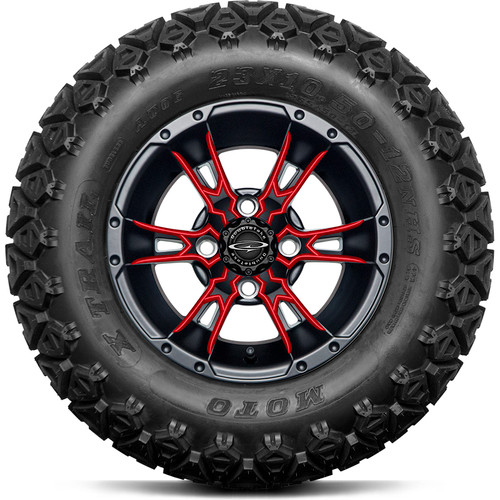 """Doubletake 12"""" Wicked 57 Series All Terrain Satin Black Finish with Red Set of 4"""