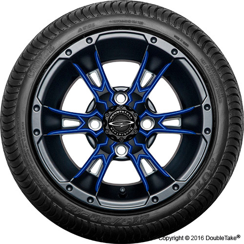 "Doubletake 12"" Wicked 57 Series Street Machined Black with Blue Set of 4"