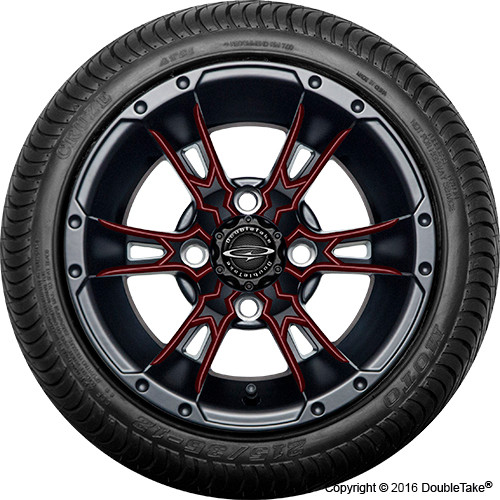 "Doubletake 12"" Wicked 57 Series Street Machined Black with Burgundy Set of 4"