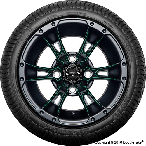 "Doubletake 12"" Wicked 57 Series Street Machined Black with Green Set of 4"
