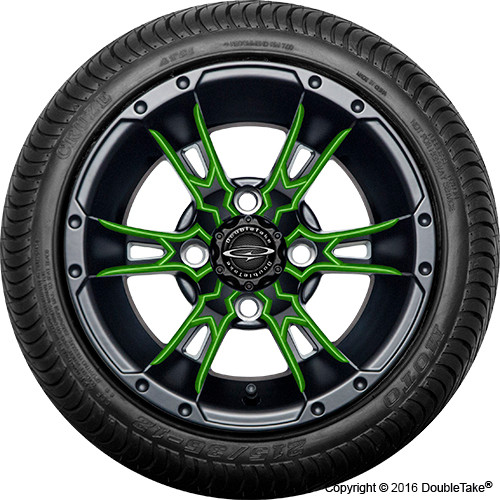 "Doubletake 12"" Wicked 57 Series Street Machined Black with Lime Set of 4"