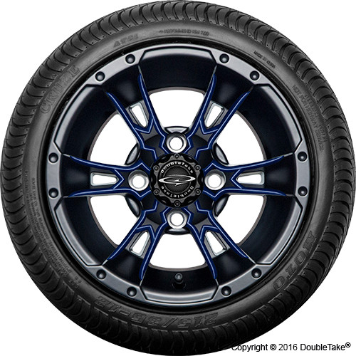 "Doubletake 12"" Wicked 57 Series Street Machined Black with Navy Set of 4"