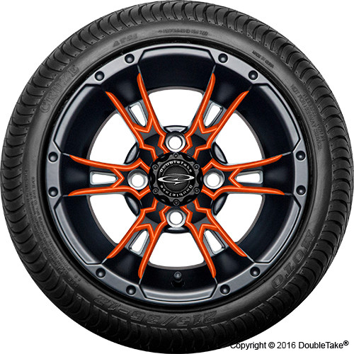 "Doubletake 12"" Wicked 57 Series Street Machined Black with Orange Set of 4"