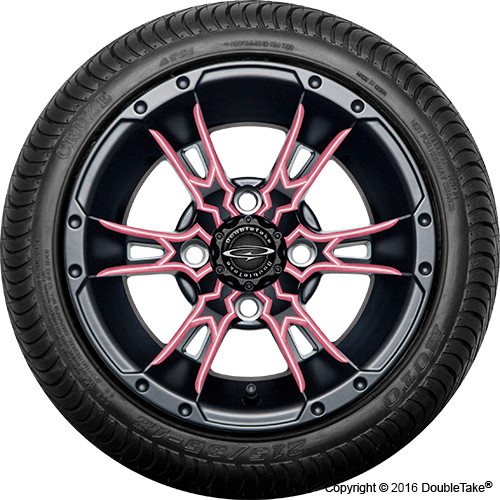 "Doubletake 12"" Wicked 57 Series Street Machined Black with Pink Set of 4"