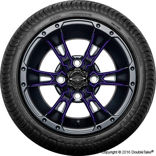"Doubletake 12"" Wicked 57 Series Street Machined Black with Purple Set of 4"