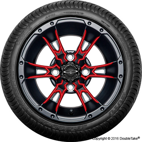 "Doubletake 12"" Wicked 57 Series Street Machined Black with Red Set of 4"