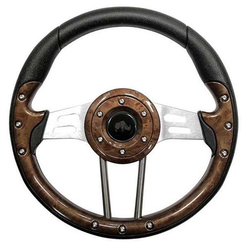 "Steering Wheel, Aviator 4 Wood grain Grip/Brushed Aluminum Spokes 13"" Diameter"