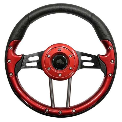 """Steering Wheel, Aviator 4 Red Grip/Black Spokes 13"""" Diameter"""
