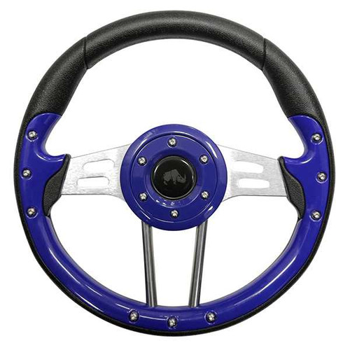 "Steering Wheel, Aviator 4 Blue Grip/Brushed Aluminum Spokes 13"" Diameter"