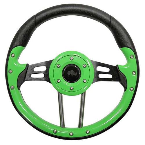 "Steering Wheel, Aviator 4 Lime Green Grip/Black Spokes 13"" Diameter"