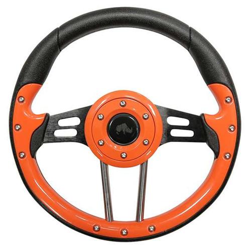 """Steering Wheel, Aviator 4 Orange Grip/Black Spokes 13"""" Diameter"""