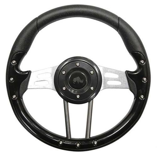 "Steering Wheel, Aviator 4 Black Grip/Brushed Aluminum Spokes 13"" Diameter"