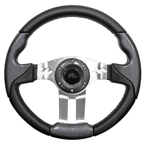 "Steering Wheel, Aviator 5 Carbon Fiber Grip/Brushed Aluminum Spokes 13"" Diameter"