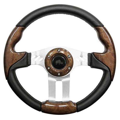 "Steering Wheel, Aviator 5 Wood grain Grip/Brushed Aluminum Spokes 13"" Diameter"