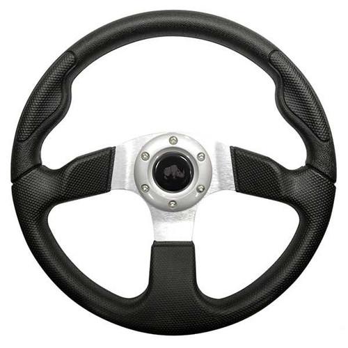 "Steering Wheel, Formula GT Black Grip/Brushed Aluminum Spokes 13"" Diameter"